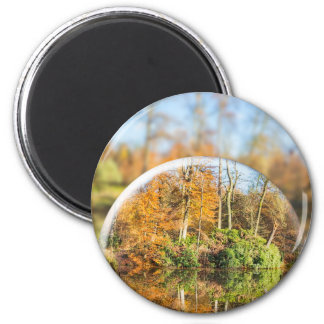 Glass sphere with autumn nature reflection in it 2 inch round magnet