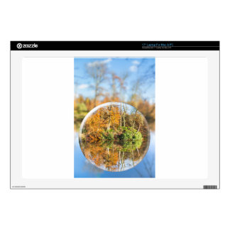 Glass sphere with autumn nature reflection in it decals for laptops