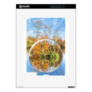 Glass sphere with autumn nature reflection in it skins for the iPad 2