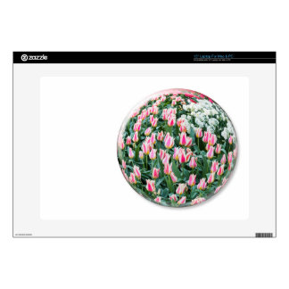 """Glass sphere with red white tulips on white 15"""" laptop decal"""