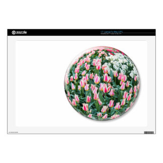 Glass sphere with red white tulips on white laptop skins