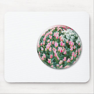 Glass sphere with red white tulips on white mouse pad