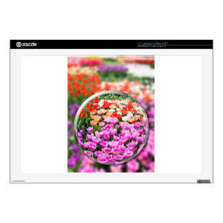 """Glass sphere with various tulips in flowers field. decals for 17"""" laptops"""