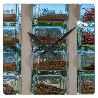 Glass spice jars wall clock