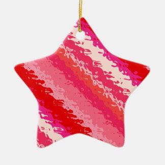 Glass stripes - shades of coral ceramic ornament