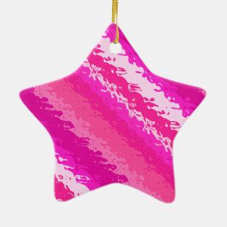 Glass stripes - shades of deep pink ceramic ornament