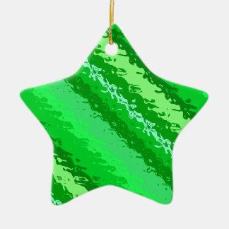 Glass stripes - shades of emerald green ceramic ornament