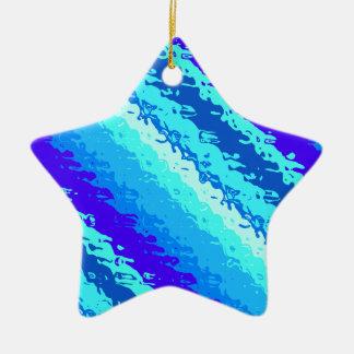 Glass stripes - shades of ocean blue ceramic ornament