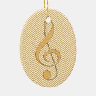 Glass Style Treble Clef Yellow Chevron Ceramic Ornament