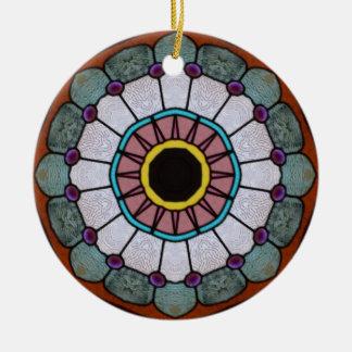 Glass Sun and Flower Ceramic Ornament