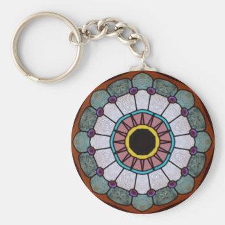 Glass Sun and Flower Basic Round Button Keychain
