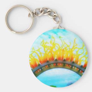 Glass Sun Basic Round Button Keychain