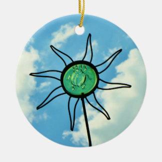 Glass Sun Sculpture in the Sky Ceramic Ornament