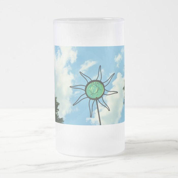 Glass Sun Sculpture in the Sky Frosted Glass Beer Mug
