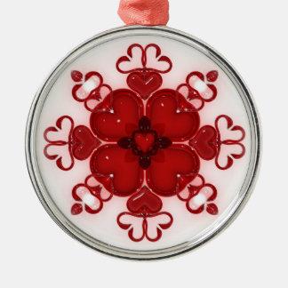 Glass Swans Heart Design Metal Ornament