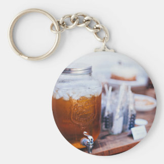 Glass Themed, A Glass Jar Filled With Apple Juice Keychain