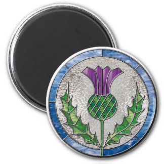 Glass Thistle 2 Inch Round Magnet