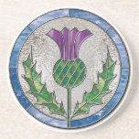 """Glass Thistle coaster<br><div class=""""desc"""">A design that features the scottish thistle emblem as a stained glass panel.  Celebrate Burns night with thistle coasters.</div>"""