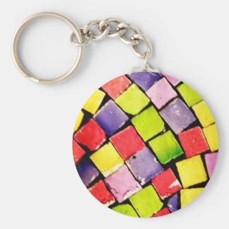 Glass Tiles II Basic Round Button Keychain