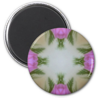 Glass tulips 2 inch round magnet