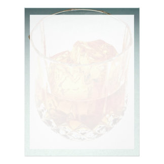 Glass tumbler filled with scotch and ice cubes custom letterhead
