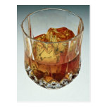 Glass tumbler filled with scotch and ice cubes postcard