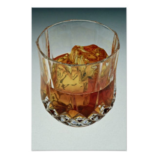 Glass tumbler filled with scotch and ice cubes poster