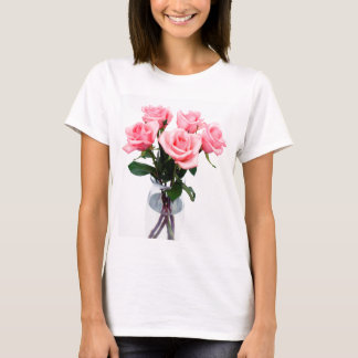 Glass Vase Of Pink Roses T-Shirt
