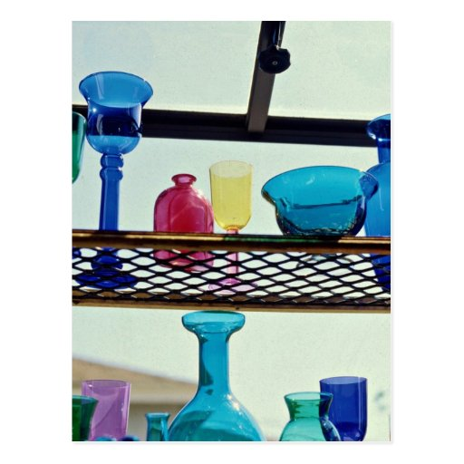 Glass vessels in different colors postcard