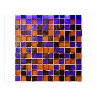 Glass Wall Orange Blue Backsplash Funny Color Postcard