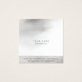 Glass White Gray Silver  Brush Ombre Square Vip Square Business Card