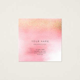 Glass White Pink Rose Gold Peach Ombre Square Vip Square Business Card