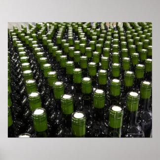 Glass wine bottles in a wine bottling factory. poster