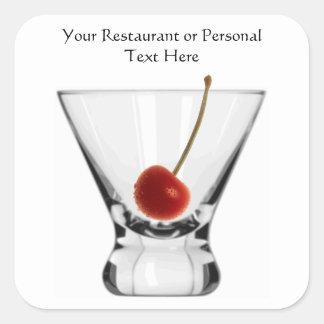 Glass with Cherry Cocktail Glass Custom Restuarant Sticker