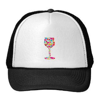 glass with multicolor hearts trucker hat