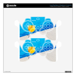 Glass with orange juice on edge of swimming pool PS3 controller skin