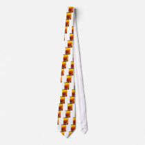 Glass with sweet canned peaches close-up neck tie