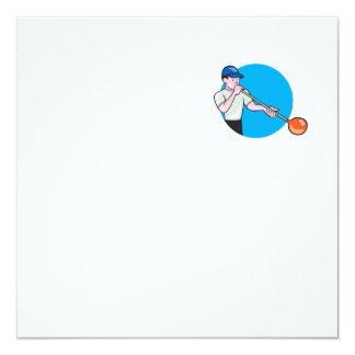 Glassblower Glassblowing Cartoon Circle 5.25x5.25 Square Paper Invitation Card