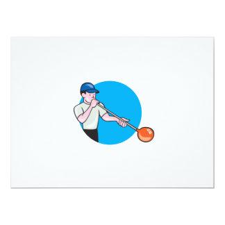 Glassblower Glassblowing Cartoon Circle 6.5x8.75 Paper Invitation Card
