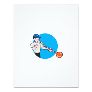 Glassblower Glassblowing Cartoon Circle 4.25x5.5 Paper Invitation Card