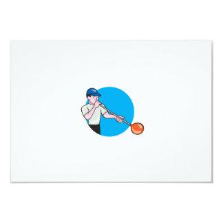 Glassblower Glassblowing Cartoon Circle 3.5x5 Paper Invitation Card