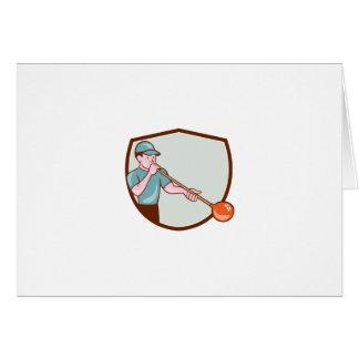 Glassblower Glassblowing Cartoon Shield Greeting Card
