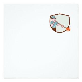 Glassblower Glassblowing Cartoon Shield 5.25x5.25 Square Paper Invitation Card