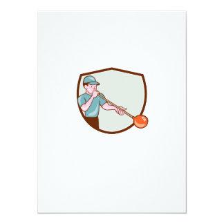 Glassblower Glassblowing Cartoon Shield 5.5x7.5 Paper Invitation Card