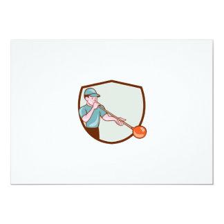Glassblower Glassblowing Cartoon Shield 5x7 Paper Invitation Card