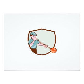 Glassblower Glassblowing Cartoon Shield 6.5x8.75 Paper Invitation Card