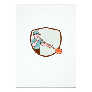 Glassblower Glassblowing Cartoon Shield 4.5x6.25 Paper Invitation Card