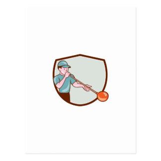 Glassblower Glassblowing Cartoon Shield Postcard