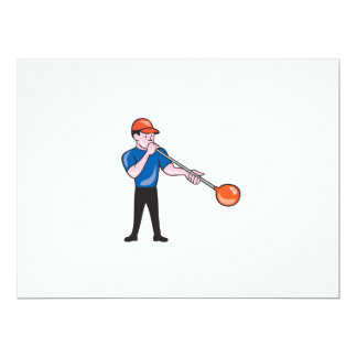 Glassblower Glassblowing Isolated Cartoon 6.5x8.75 Paper Invitation Card