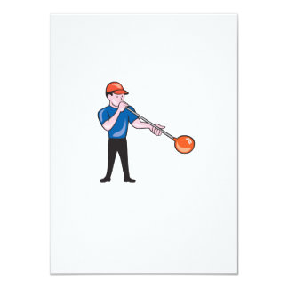 Glassblower Glassblowing Isolated Cartoon 4.5x6.25 Paper Invitation Card